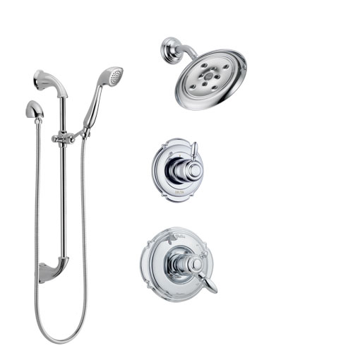 Delta Victorian Chrome Finish Shower System with Dual Control Handle, 3-Setting Diverter, Showerhead, and Hand Shower with Slidebar SS1725524