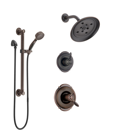 Delta Victorian Venetian Bronze Shower System with Dual Control Handle, 3-Setting Diverter, Showerhead, and Hand Shower with Grab Bar SS172552RB3