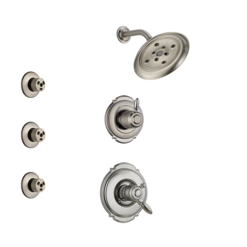 Delta Victorian Stainless Steel Finish Shower System with Dual Control Handle, 3-Setting Diverter, Showerhead, and 3 Body Sprays SS172552SS1