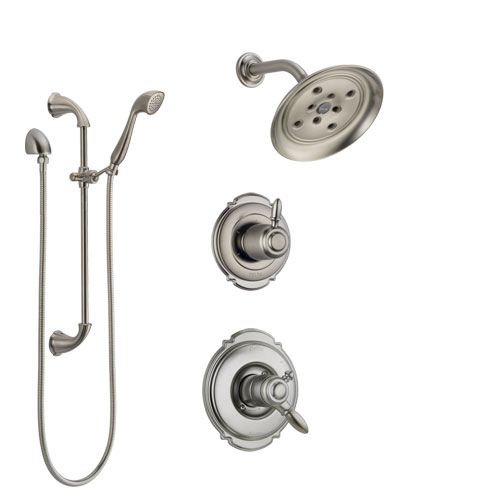Delta Victorian Stainless Steel Finish Shower System with Dual Control Handle, Diverter, Showerhead, and Hand Shower with Slidebar SS172552SS4