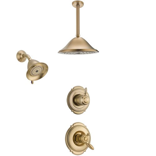 Delta Victorian Champagne Bronze Shower System with Dual Control Handle, 3-Setting Diverter, Showerhead, and Ceiling Mount Showerhead SS17255CZ4