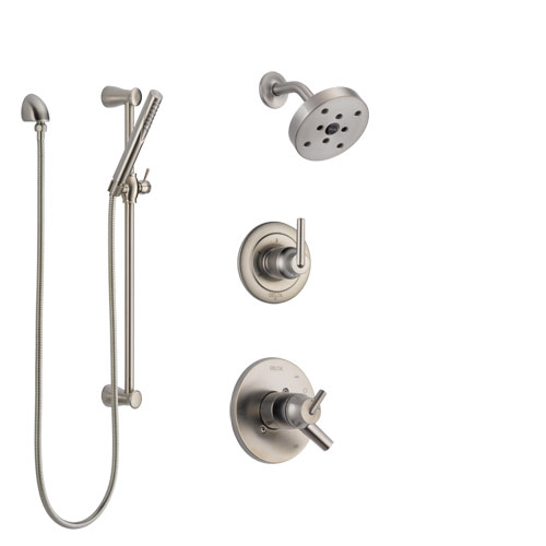 Delta Trinsic Stainless Steel Finish Shower System with Dual Control Handle, 3-Setting Diverter, Showerhead, and Hand Shower with Slidebar SS172591SS5