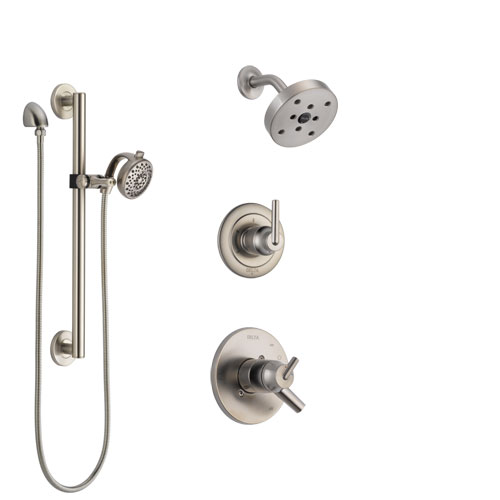 Delta Trinsic Stainless Steel Finish Shower System with Dual Control Handle, 3-Setting Diverter, Showerhead, and Hand Shower with Grab Bar SS172591SS6