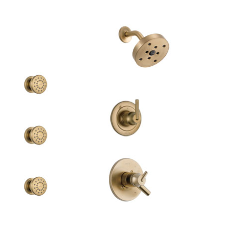 Delta Trinsic Champagne Bronze Finish Shower System with Dual Control Handle, 3-Setting Diverter, Showerhead, and 3 Body Sprays SS17259CZ1