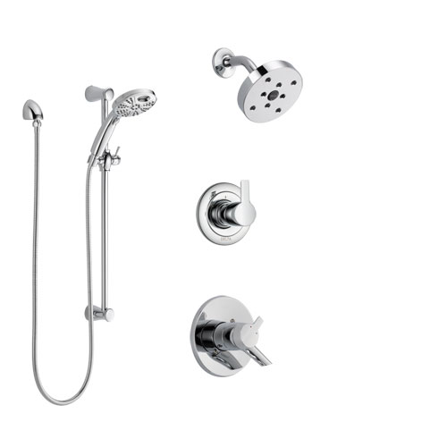 Delta Compel Chrome Finish Shower System with Dual Control Handle, 3-Setting Diverter, Showerhead, and Temp2O Hand Shower with Slidebar SS172614