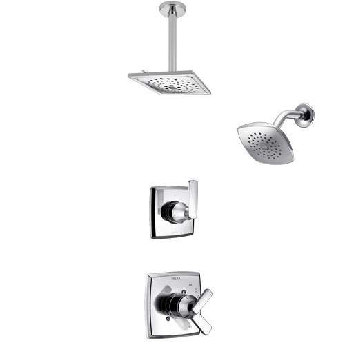 Delta Ashlyn Chrome Finish Shower System with Dual Control Handle, 3-Setting Diverter, Showerhead, and Ceiling Mount Showerhead SS172643