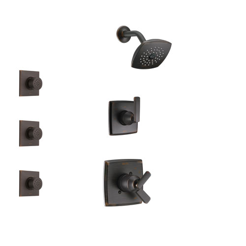 Delta Ashlyn Venetian Bronze Finish Shower System with Dual Control Handle, 3-Setting Diverter, Showerhead, and 3 Body Sprays SS17264RB2