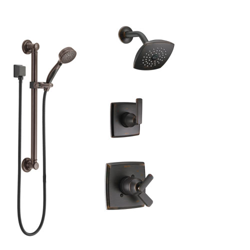 Delta Ashlyn Venetian Bronze Finish Shower System with Dual Control Handle, 3-Setting Diverter, Showerhead, and Hand Shower with Grab Bar SS17264RB3