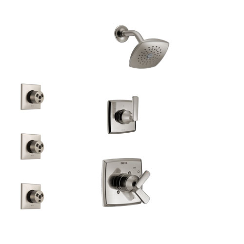 Delta Ashlyn Stainless Steel Finish Shower System with Dual Control Handle, 3-Setting Diverter, Showerhead, and 3 Body Sprays SS17264SS1
