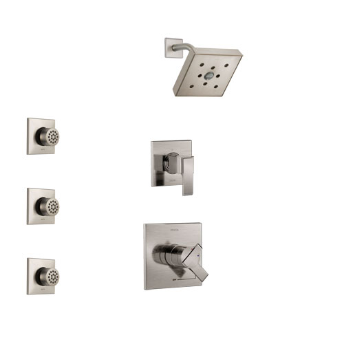 Delta Ara Stainless Steel Finish Shower System with Dual Control Handle, 3-Setting Diverter, Showerhead, and 3 Body Sprays SS17267SS1