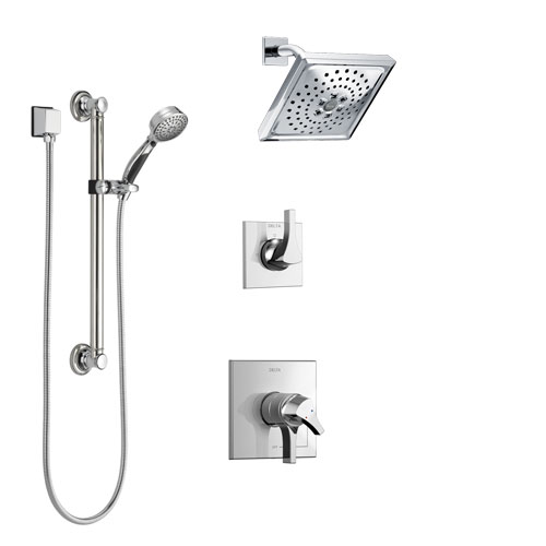 Delta Zura Chrome Finish Shower System with Dual Control Handle, 3-Setting Diverter, Showerhead, and Hand Shower with Grab Bar SS172744