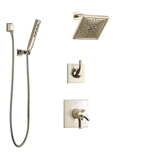 Delta Zura Polished Nickel Finish Shower System with Dual Control Handle, 3-Setting Diverter, Showerhead, and Hand Shower with Wall Bracket SS17274PN2