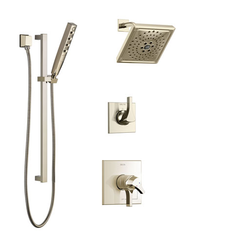 Delta Zura Polished Nickel Finish Shower System with Dual Control Handle, 3-Setting Diverter, Showerhead, and Hand Shower with Slidebar SS17274PN3