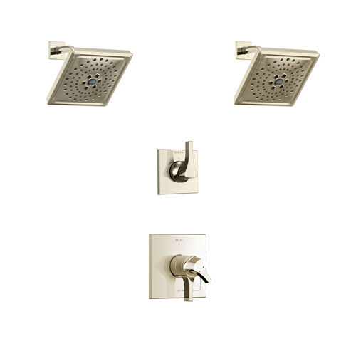 Delta Zura Polished Nickel Finish Shower System with Dual Control Handle, 3-Setting Diverter, 2 Showerheads SS17274PN4