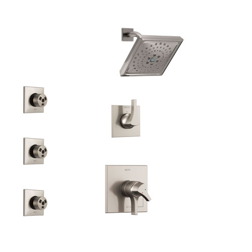Delta Zura Stainless Steel Finish Shower System with Dual Control Handle, 3-Setting Diverter, Showerhead, and 3 Body Sprays SS17274SS1