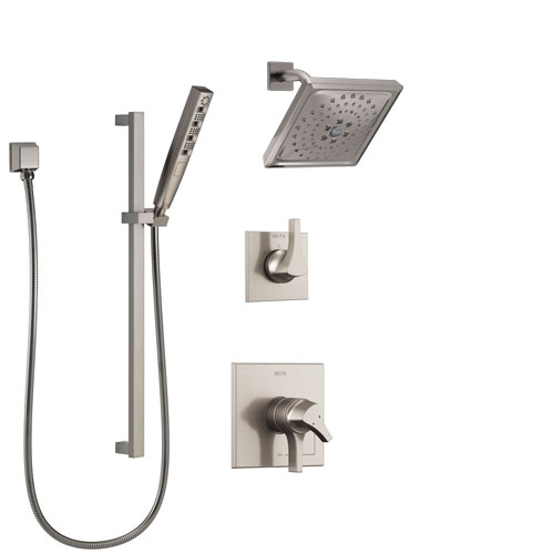 Delta Zura Stainless Steel Finish Shower System with Dual Control Handle, 3-Setting Diverter, Showerhead, and Hand Shower with Slidebar SS17274SS5