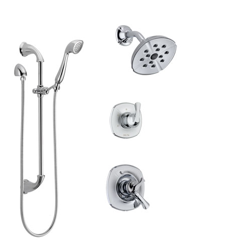 Delta Addison Chrome Finish Shower System with Dual Control Handle, 3-Setting Diverter, Showerhead, and Hand Shower with Slidebar SS172925