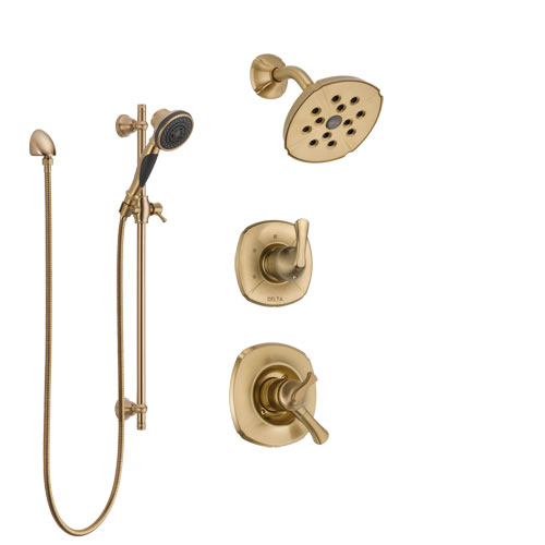 Delta Addison Champagne Bronze Finish Shower System with Dual Control Handle, 3-Setting Diverter, Showerhead, and Hand Shower with Slidebar SS17292CZ2