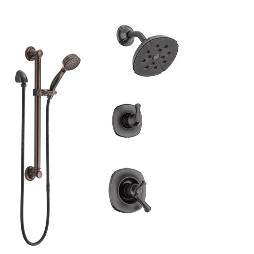 Delta Addison Venetian Bronze Finish Shower System with Dual Control Handle, 3-Setting Diverter, Showerhead, and Hand Shower with Grab Bar SS17292RB3
