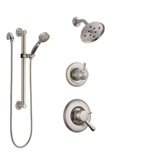 Delta Linden Stainless Steel Finish Shower System with Dual Control Handle, 3-Setting Diverter, Showerhead, and Hand Shower with Grab Bar SS17293SS3