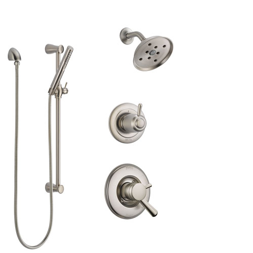 Delta Linden Stainless Steel Finish Shower System with Dual Control Handle, 3-Setting Diverter, Showerhead, and Hand Shower with Slidebar SS17293SS4