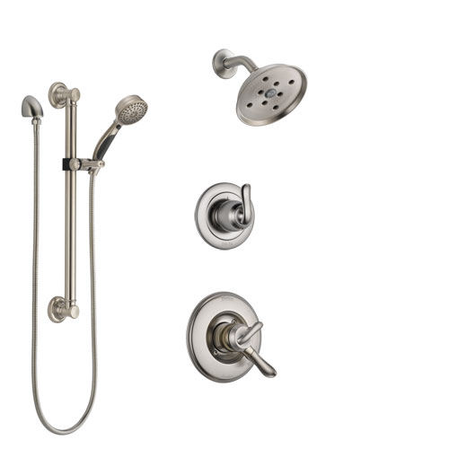Delta Linden Stainless Steel Finish Shower System with Dual Control Handle, 3-Setting Diverter, Showerhead, and Hand Shower with Grab Bar SS17294SS3
