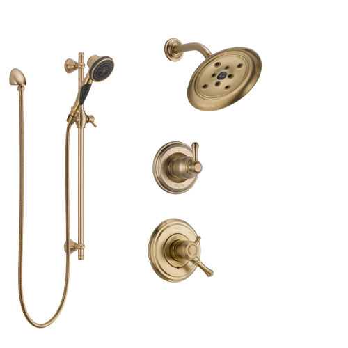 Delta Cassidy Champagne Bronze Finish Shower System with Dual Control Handle, 3-Setting Diverter, Showerhead, and Hand Shower with Slidebar SS17297CZ3