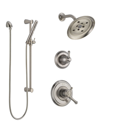 Delta Cassidy Stainless Steel Finish Shower System with Dual Control Handle, 3-Setting Diverter, Showerhead, and Hand Shower with Slidebar SS17297SS5