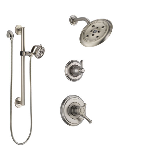 Delta Cassidy Stainless Steel Finish Shower System with Dual Control Handle, 3-Setting Diverter, Showerhead, and Hand Shower with Grab Bar SS17297SS6