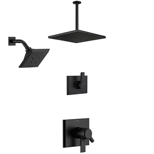 Delta Pivotal Matte Black Finish Modern Angular Shower System with Large Rain Ceiling Showerhead and Multi-Setting Wall Mount Showerhead SS172993BL1