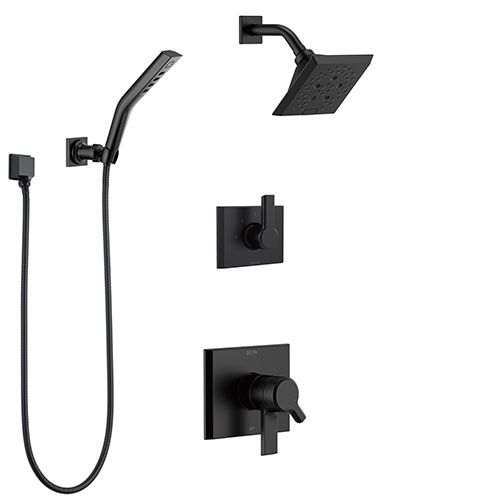 Delta Pivotal Matte Black Finish Modern Dual Control Shower System with Diverter, Wall Mount Showerhead, and Hand Shower SS172993BL4