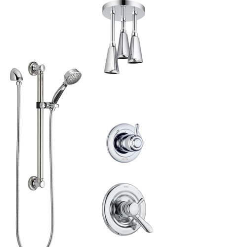 Delta Lahara Chrome Finish Shower System with Dual Control Handle, 3-Setting Diverter, Ceiling Mount Showerhead, and Hand Shower with Grab Bar SS17384