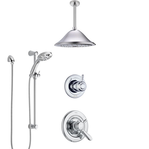Delta Lahara Chrome Finish Shower System with Dual Control, 3-Setting Diverter, Ceiling Mount Showerhead, and Temp2O Hand Shower with Slidebar SS17386
