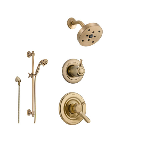 Delta Lahara Champagne Bronze Shower System with Dual Control Shower Handle, 3-setting Diverter, Modern Round Showerhead, and Handheld Shower SS173885CZ