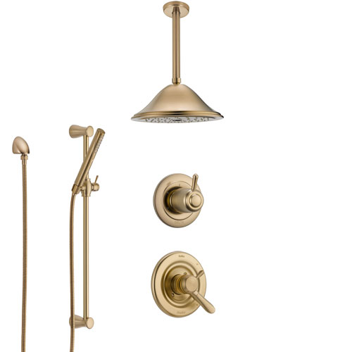Delta Lahara Champagne Bronze Shower System with Dual Control Handle, Diverter, Ceiling Mount Showerhead, and Hand Shower with Slidebar SS1738CZ4