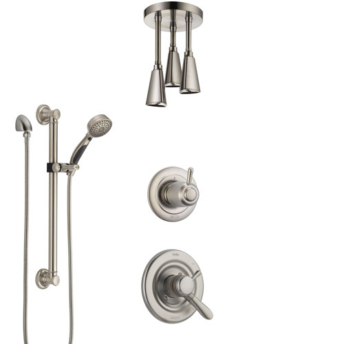 Delta Lahara Dual Control Handle Stainless Steel Finish Shower System, Diverter, Ceiling Mount Showerhead, and Hand Shower with Grab Bar SS1738SS7