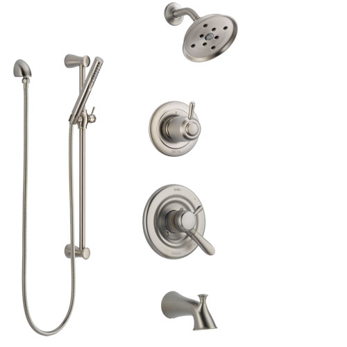 Delta Lahara Stainless Steel Finish Tub and Shower System with Dual Control Handle, Diverter, Showerhead, and Hand Shower with Slidebar SS17438SS4