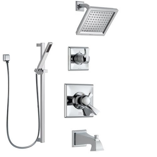Delta Dryden Chrome Finish Tub and Shower System with Dual Control Handle, 3-Setting Diverter, Showerhead, and Hand Shower with Slidebar SS1745115