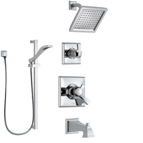 Delta Dryden Chrome Finish Tub and Shower System with Dual Control Handle, 3-Setting Diverter, Showerhead, and Hand Shower with Slidebar SS1745116