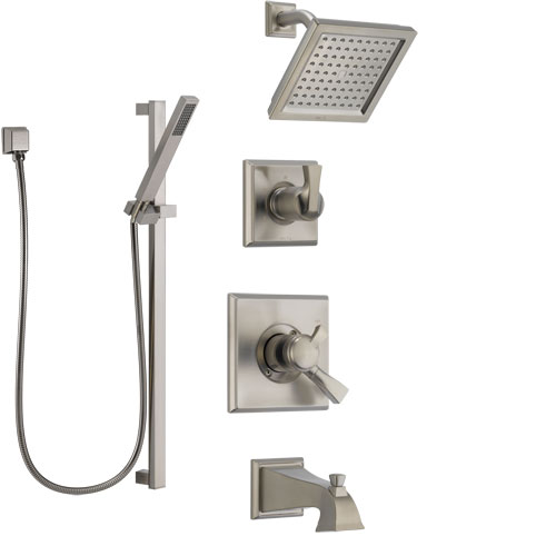 Delta Dryden Stainless Steel Finish Tub and Shower System with Dual Control Handle, Diverter, Showerhead, and Hand Shower with Slidebar SS174511SS4