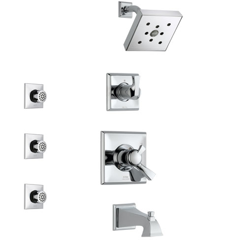 Delta Dryden Chrome Finish Tub and Shower System with Dual Control Handle, 3-Setting Diverter, Showerhead, and 3 Body Sprays SS1745121