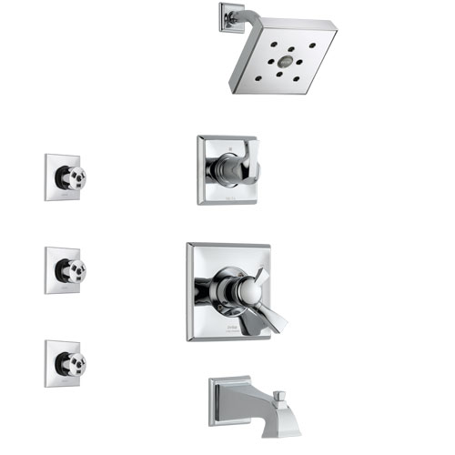 Delta Dryden Chrome Finish Tub and Shower System with Dual Control Handle, 3-Setting Diverter, Showerhead, and 3 Body Sprays SS1745122
