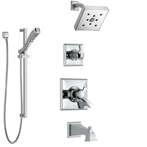 Delta Dryden Chrome Finish Tub and Shower System with Dual Control Handle, 3-Setting Diverter, Showerhead, and Hand Shower with Slidebar SS1745126