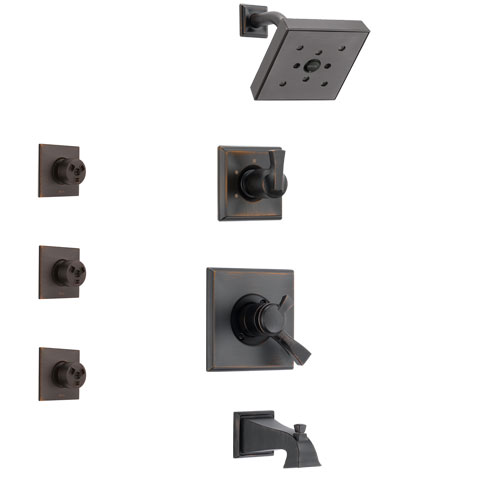 Delta Dryden Venetian Bronze Finish Tub and Shower System with Dual Control Handle, 3-Setting Diverter, Showerhead, and 3 Body Sprays SS174512RB1