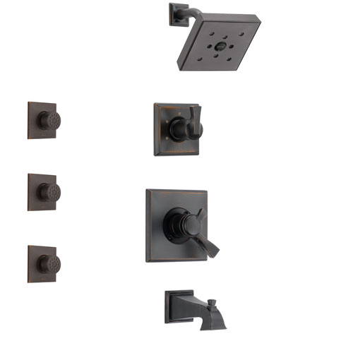 Delta Dryden Venetian Bronze Finish Tub and Shower System with Dual Control Handle, 3-Setting Diverter, Showerhead, and 3 Body Sprays SS174512RB2