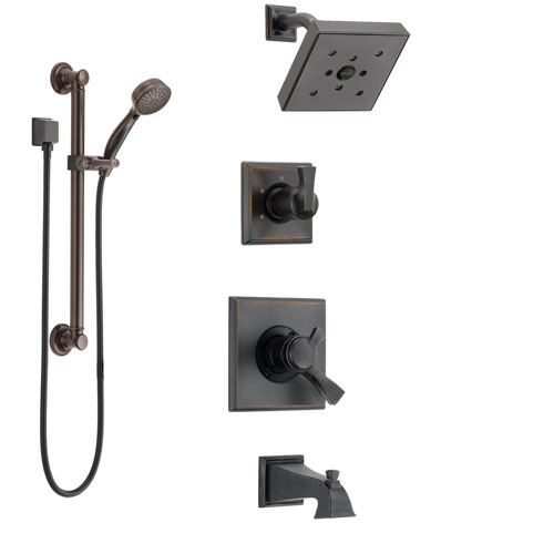 Delta Dryden Venetian Bronze Tub and Shower System with Dual Control Handle, 3-Setting Diverter, Showerhead, and Hand Shower with Grab Bar SS174512RB3