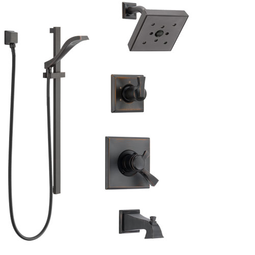 Delta Dryden Venetian Bronze Tub and Shower System with Dual Control Handle, 3-Setting Diverter, Showerhead, and Hand Shower with Slidebar SS174512RB4