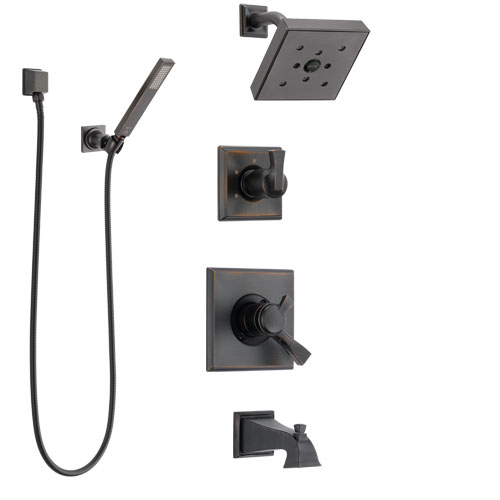 Delta Dryden Venetian Bronze Tub and Shower System with Dual Control Handle, Diverter, Showerhead, and Hand Shower with Wall Bracket SS174512RB5