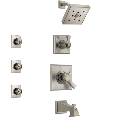 Delta Dryden Stainless Steel Finish Tub and Shower System with Dual Control Handle, 3-Setting Diverter, Showerhead, and 3 Body Sprays SS174512SS2