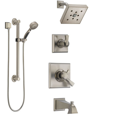 Delta Dryden Stainless Steel Finish Tub and Shower System with Dual Control Handle, Diverter, Showerhead, and Hand Shower with Grab Bar SS174512SS3